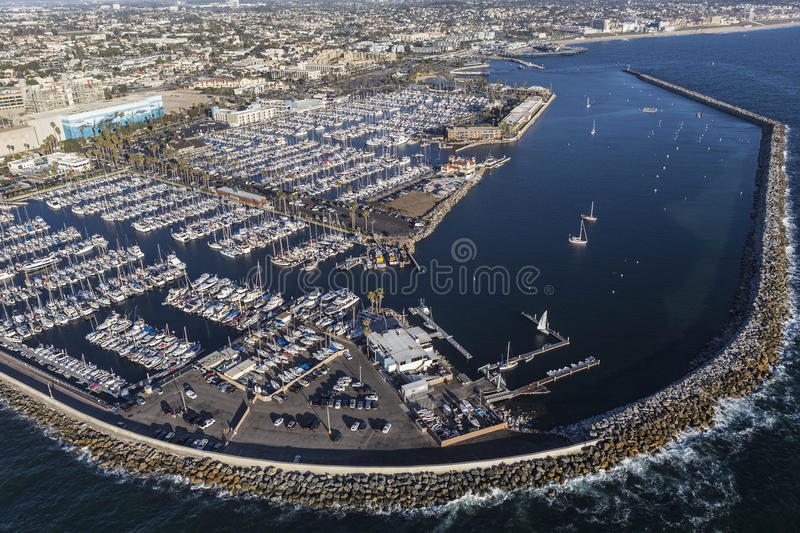 Redondo Beach California Marina Aerial View. Redondo Beach, California, USA - August 16, 2016: Afternoon aerial view of Redondo Beach Marina near Los Angeles stock image