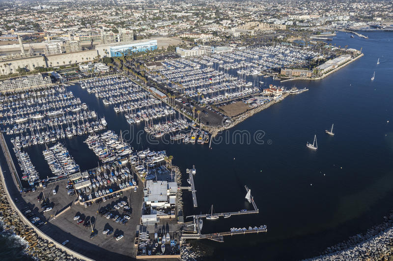 Redondo Beach Marina near Los Angeles. Redondo Beach, California, USA - August 16, 2016: Aerial view of Redondo Beach Marina near Los Angeles in Southern royalty free stock photography