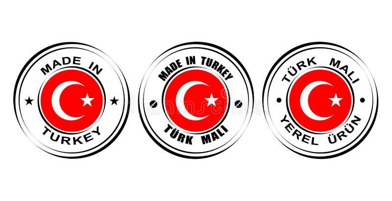 ` Redondo de las etiquetas hecho en el ` de Turquía con la bandera libre illustration