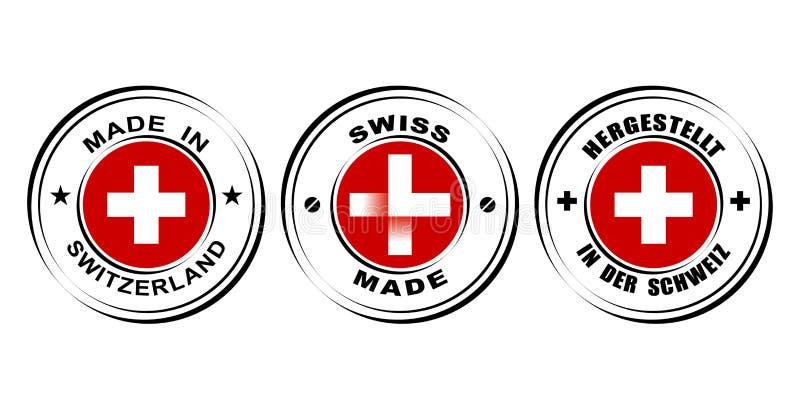 ` Redondo hecho en el ` de Suiza con la bandera, ` hecho suizo de la etiqueta del ` con el icono del reloj libre illustration