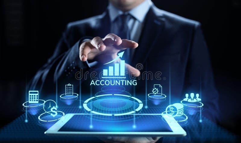 Redovisande bokföring som packar ihop begrepp för beräkningsaffärsfinans arkivfoton