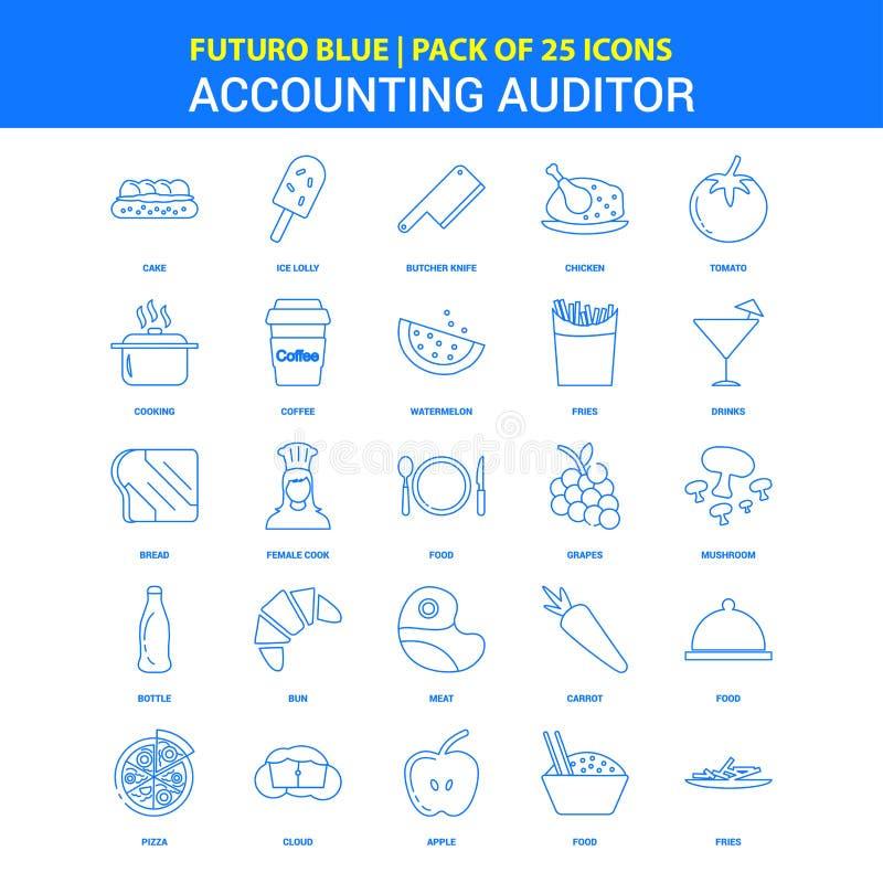 Redovisande revisor Icons - packe Futuro blå för 25 symbol stock illustrationer