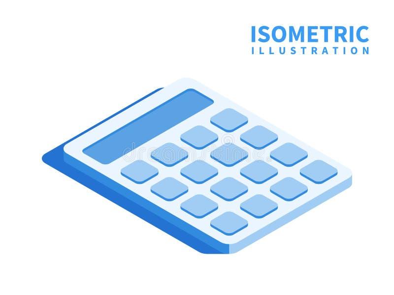 Redovisning räknemaskinsymbol Isometrisk mall för rengöringsdukdesign i plan stil 3D också vektor för coreldrawillustration royaltyfri illustrationer