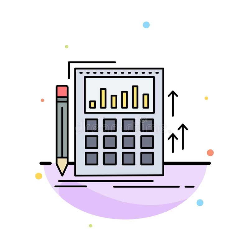 Redovisning revision, bankrörelse, beräkning, för färgsymbol för räknemaskin plan vektor royaltyfri illustrationer