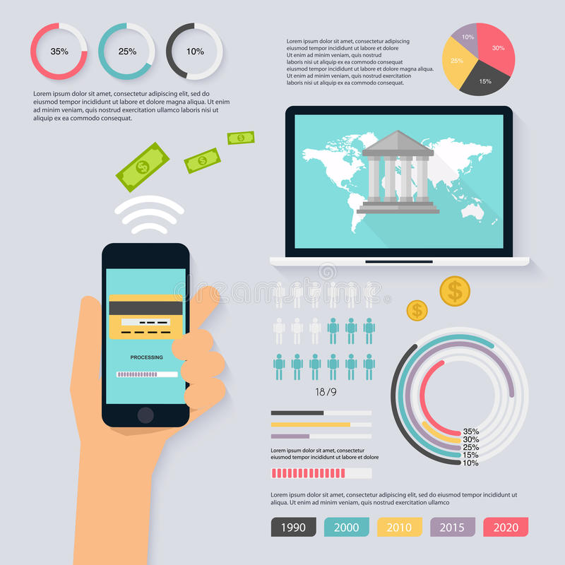 Redovisningsinfographicsuppsättningen med finans, pengar, banken, kartlägger royaltyfri illustrationer