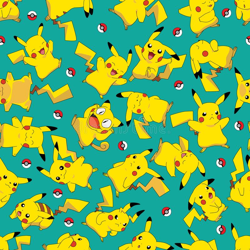 Free Redraw Redesign Pokemon Pikachu Ball Rotate Seamless Pattern Royalty Free Stock Image - 163875816
