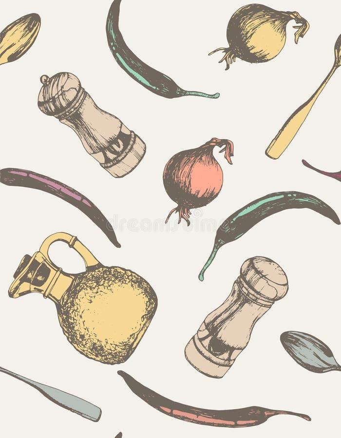 Redskap och dragen mathand tecknad seamless handmodell stock illustrationer