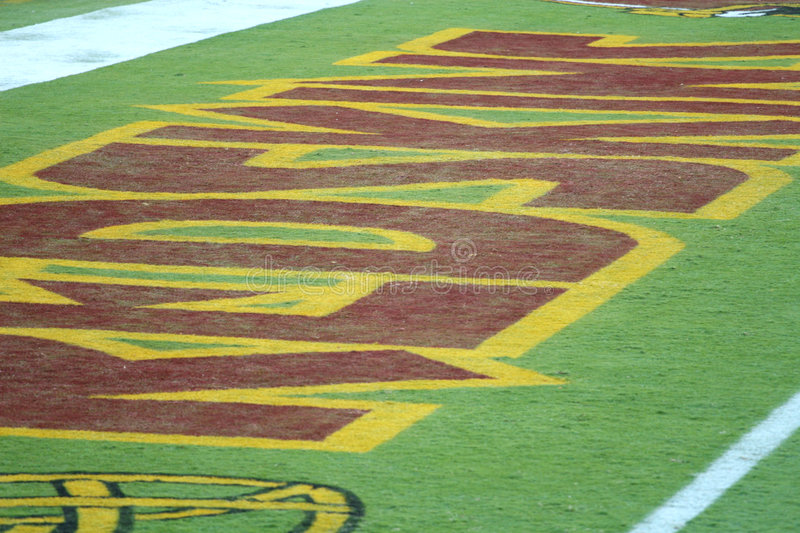 Redskins End zone: NFL - American Football. Fedex Field, Washington DC: VIew of the Redskins End zone, symbolic of the team's standing in the American NFL stock image