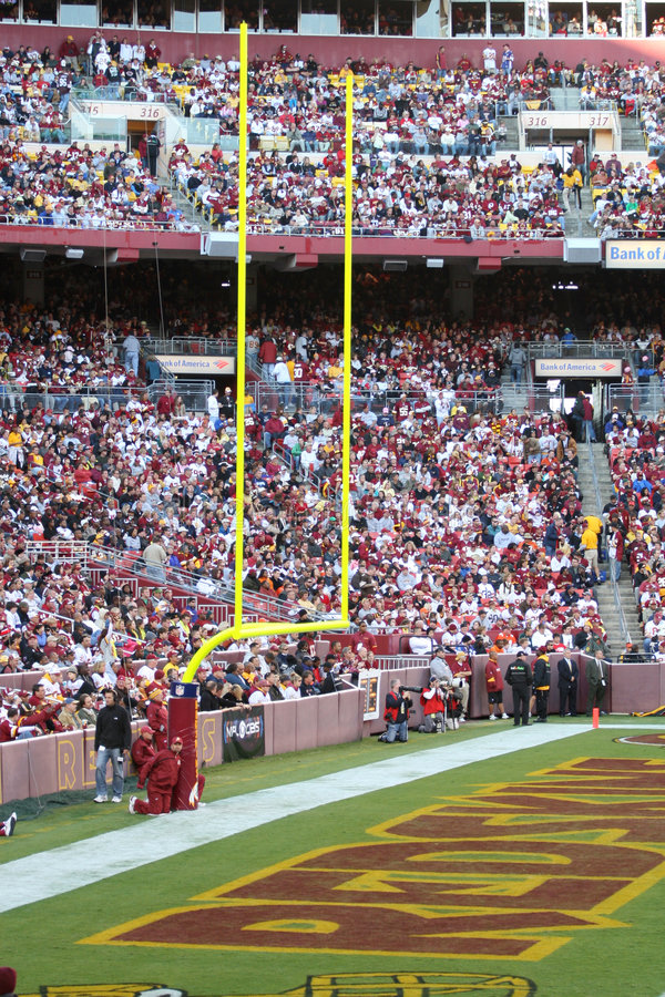 Redskins End zone: NFL - American Football. Fedex Field, Washington DC: VIew of the Redskins End zone, symbolic of the team's standing in the American NFL royalty free stock photos