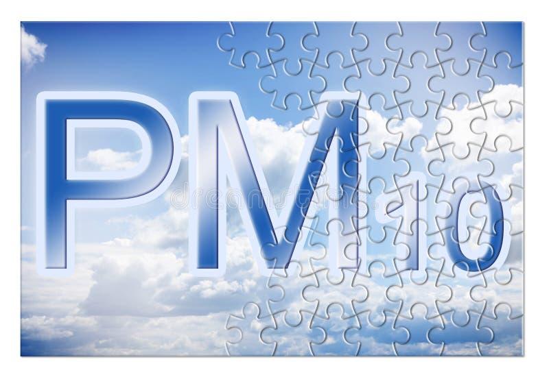 Redução das emissões de partículas PM10 no ar - imagem conceptual em forma de quebra-cabeça fotografia de stock royalty free