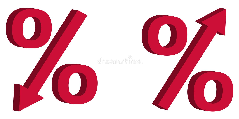 A redução de preço da venda do disconto do ícone, taxa de juro do sinal 3D com seta para baixo e levanta, o conceito da venda dos ilustração stock