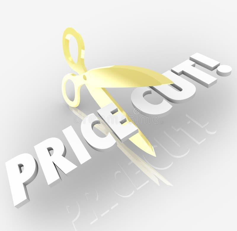 A redução de preços Scissors economias do disconto da venda da palavra ilustração do vetor