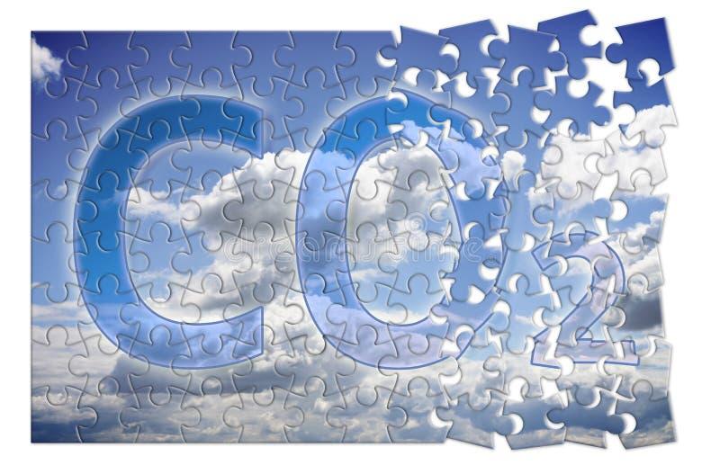 Reducción de la presencia en la atmósfera - imagen del CO2 del concepto del rompecabezas fotografía de archivo libre de regalías