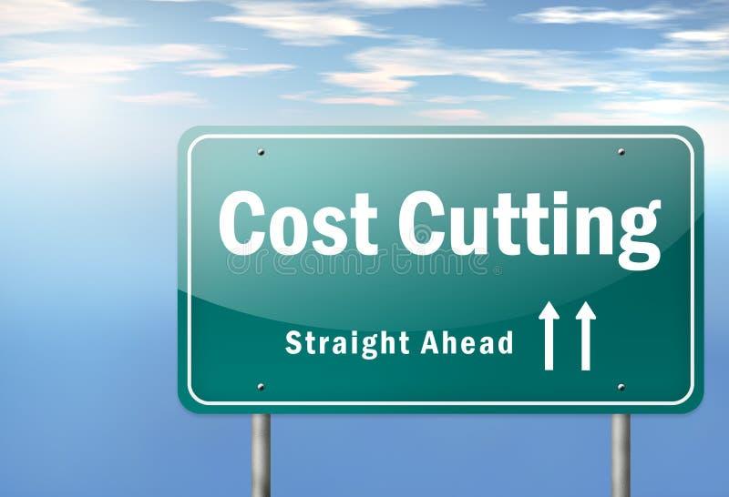 Reducción de los costes del poste indicador de la carretera stock de ilustración