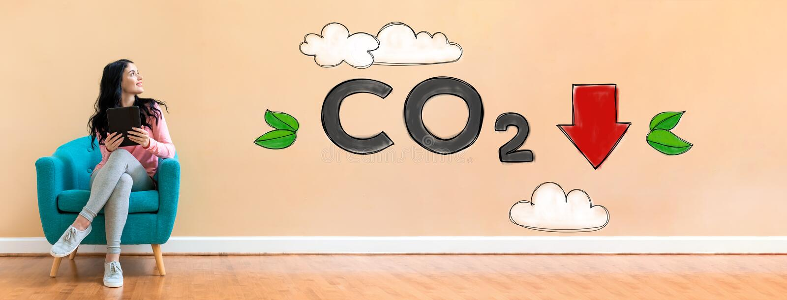 Reduce CO2 with woman using a tablet royalty free illustration