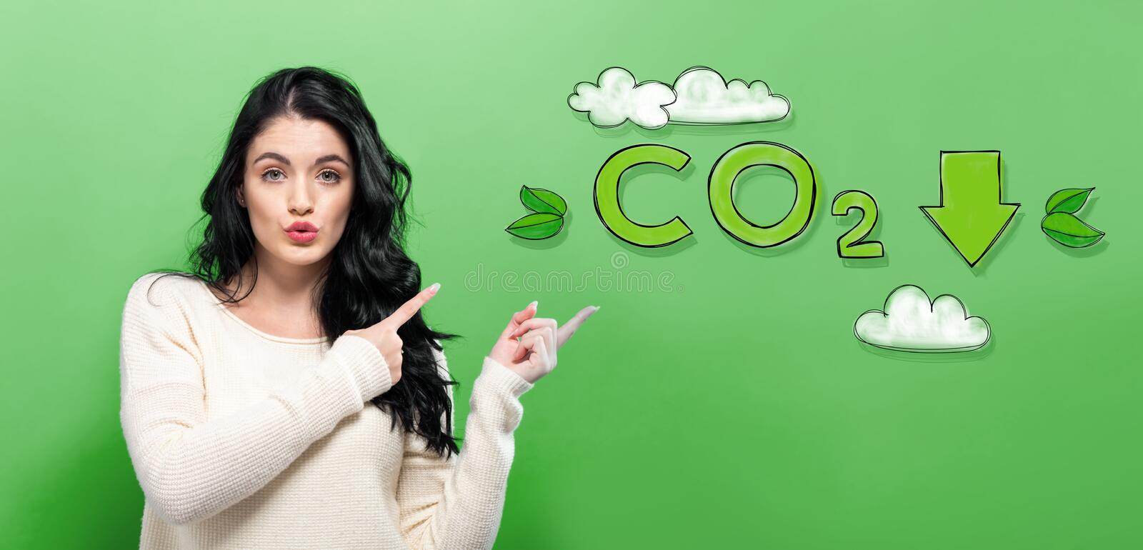 Reduce CO2 with young woman royalty free stock images