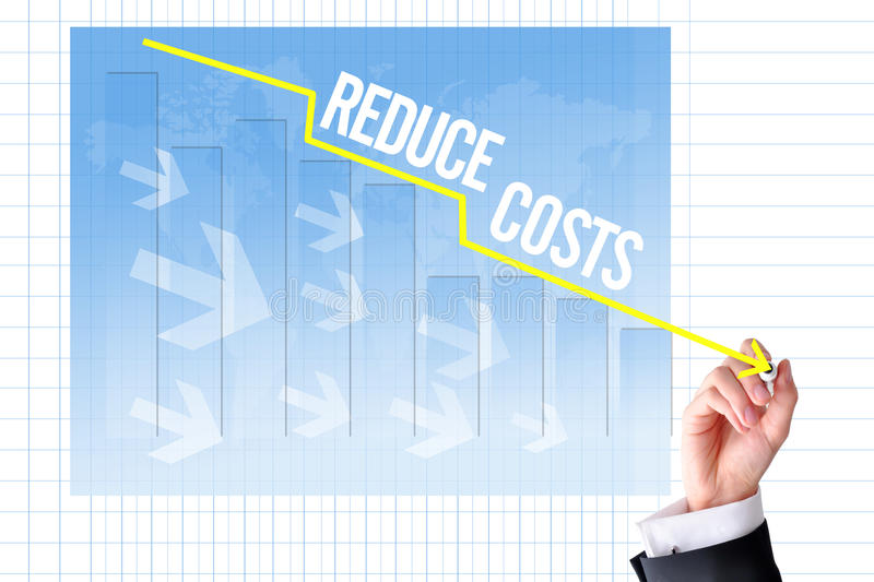 Reduce costs concept with businessman hand draw a graph royalty free stock photos