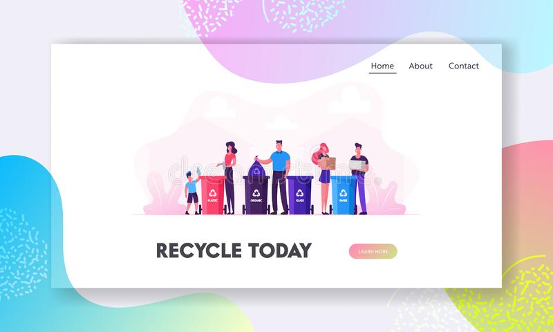 Reduce Environment Pollution Website Landing Page. Family with Kids Collect Litter to Recycle Bins, People Recycling stock illustration