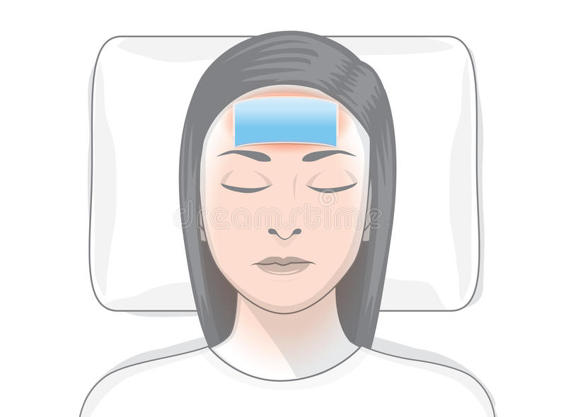 Reduce fever patches on forehead of ill woman. stock illustration