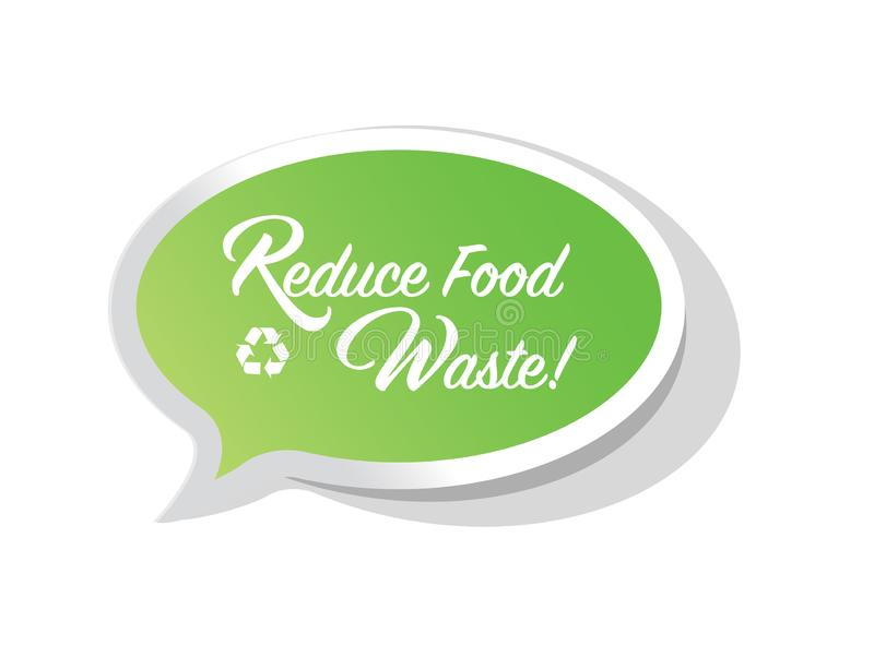 Reduce Food Waste bright message bubble vector illustration