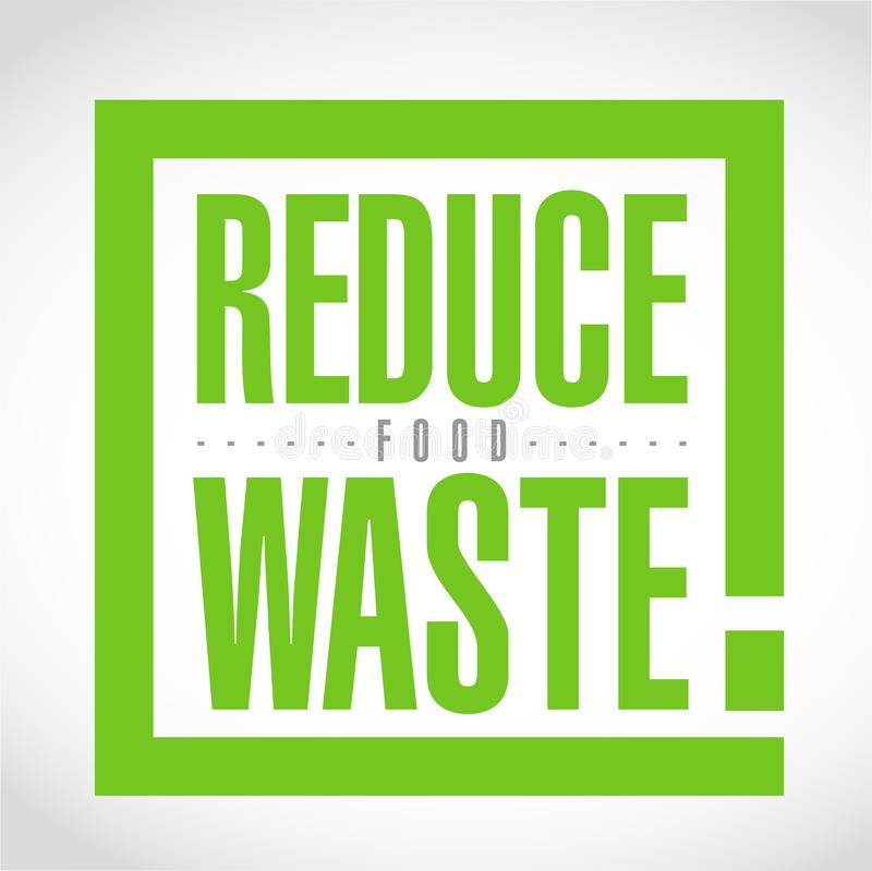 Reduce Food Waste exclamation box message stock illustration