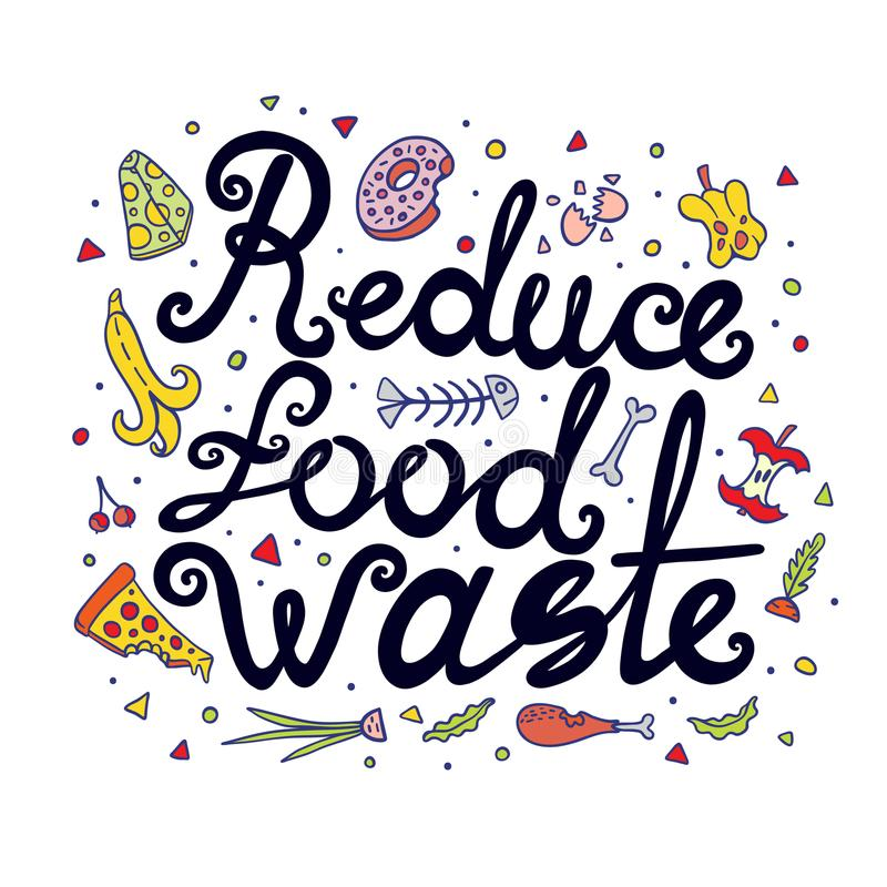 Reduce Food Waste Hand Drawn Lettering vector illustration