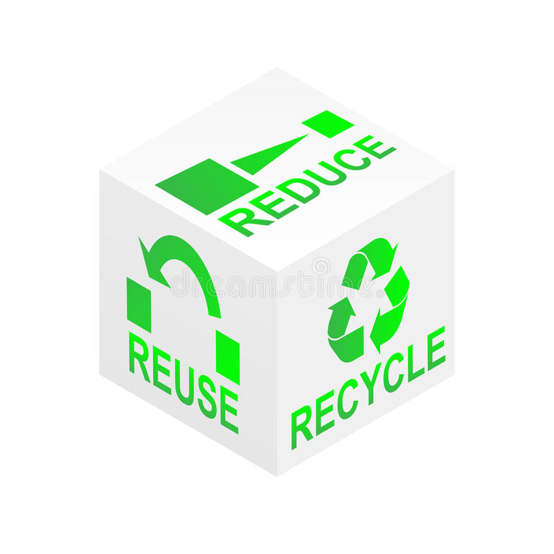 Reduce Reuse Recycle Cube vector illustration