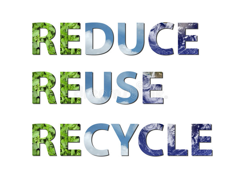 Reduce, reuse, recycle earth, water, air royalty free illustration