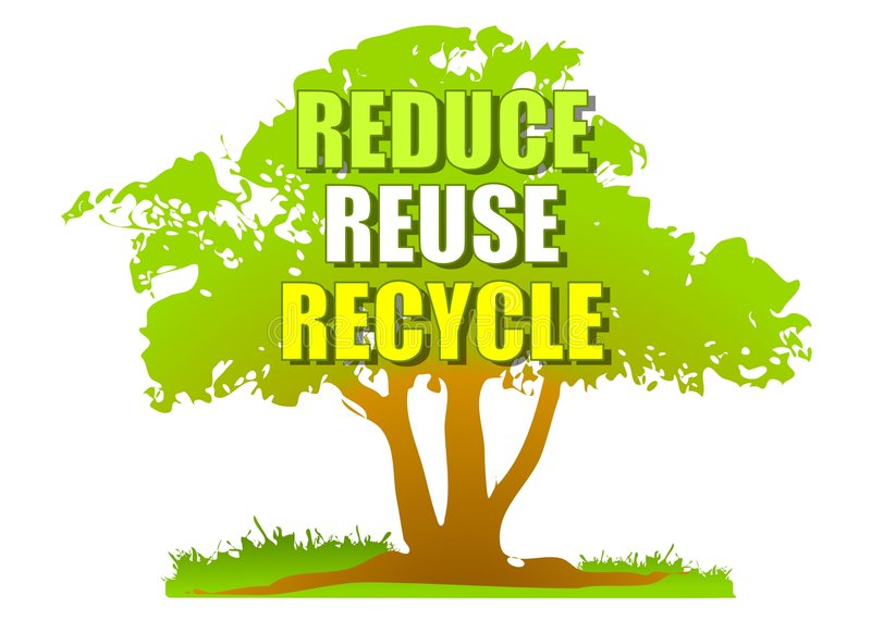 Reduce Reuse Recycle Green Tree Stock Illustration Illustration Of