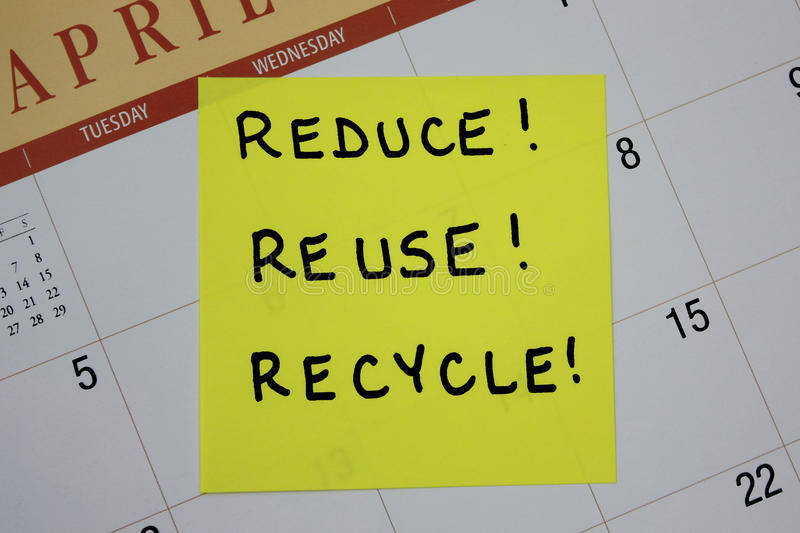 Download Reduce, Reuse, Recycle Note Stock Image - Image: 22631325