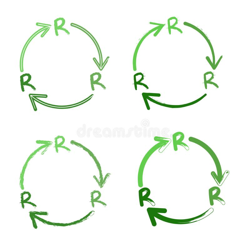 Reduce Reuse Recycle vector logo set on a white background. Three Rs in flat icon design stock illustration