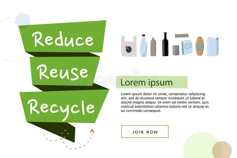 Reduce, reuse, recycle vector poster. Flat style illustration, ecological template, zero waste. Flat style illustration, ecological template, zero waste. Reduce royalty free illustration
