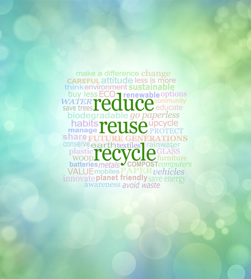 Reduce Reuse Recycle Word Cloud stock illustration