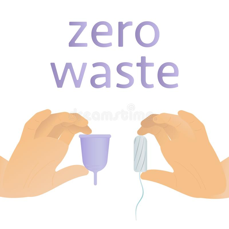 Reduce, reuse, recycle. Zero waste menstrual cups in hands. Diverse woman hands are holding girl cycle hygiene silicone royalty free illustration