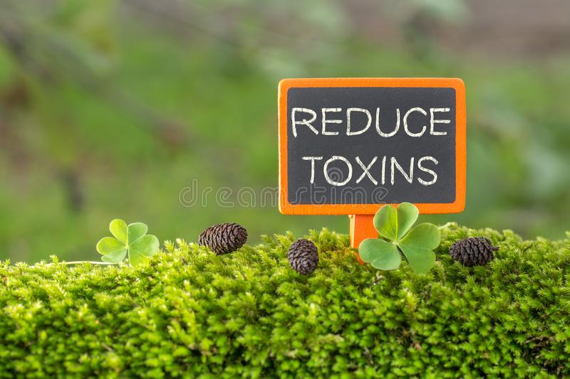 Reduce toxins text on small blackboard. Sign on green moss with Clover , blur green tree plant background stock images