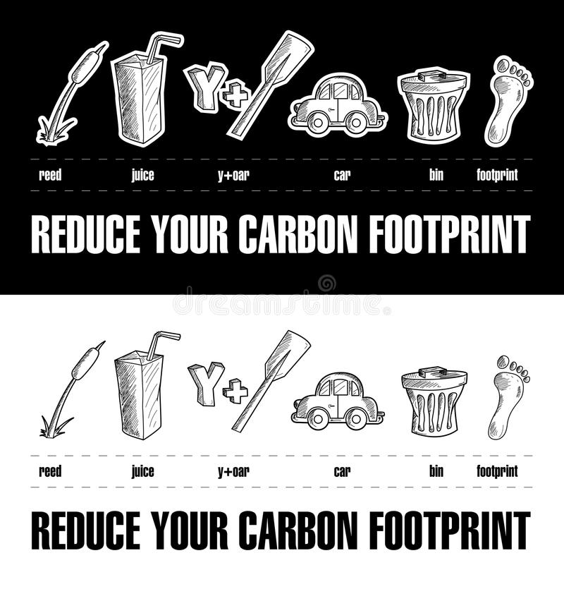 Download Reduce Your Carbon Footprint Rebus 2 Stock Vector - Image: 25562328