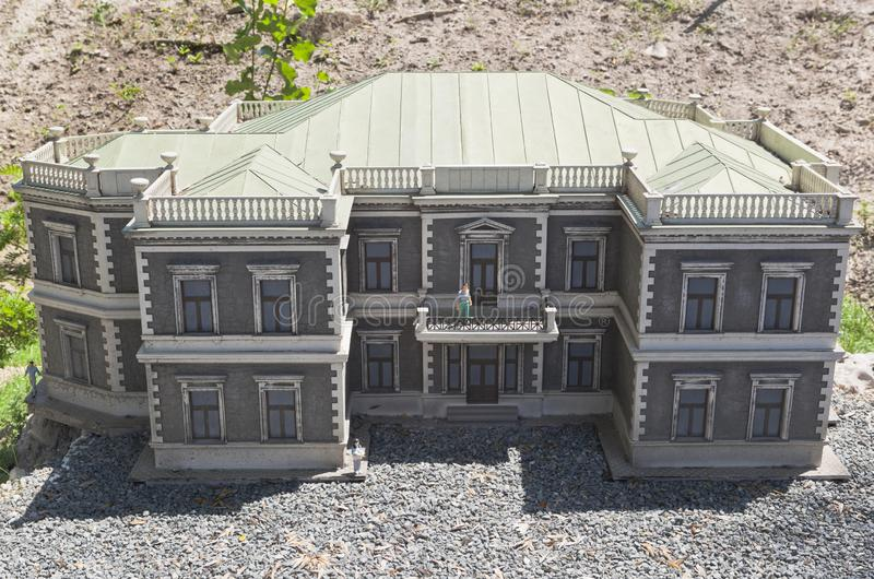 Reduced copy of the Kuznetsov palace of the Foros resort in the Bakhchisarai miniature park stock photos