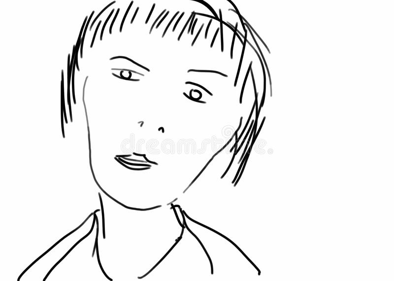 Reduced frontal Portrait of a Female Person royalty free illustration