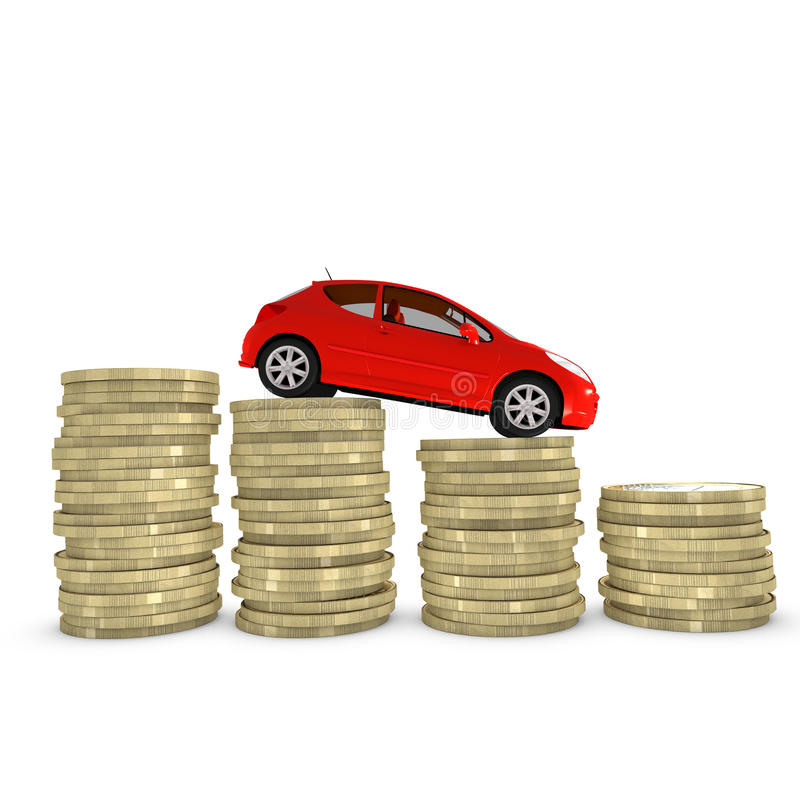 Reducing cost of purchasing and maintaining a car stock illustration