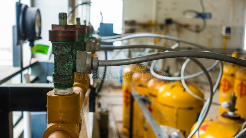 Reducing the Effects of  Corrosion and Erosion with Chlorine cylinder valves in water treatment plant.  stock image