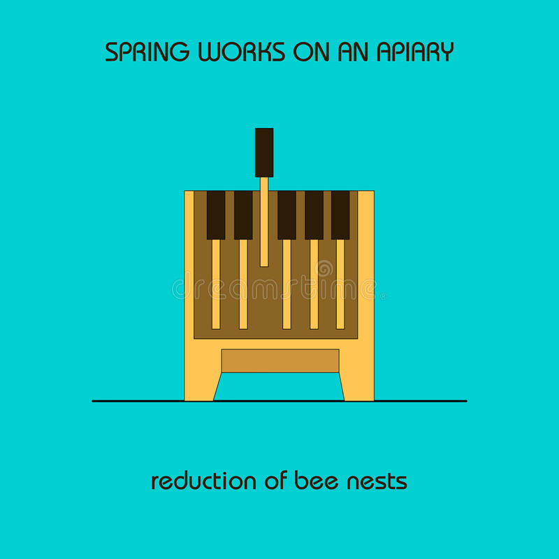 Reduction of bee nests (spring work). The information poster spring work on an apiary. reduction of bee nests royalty free illustration