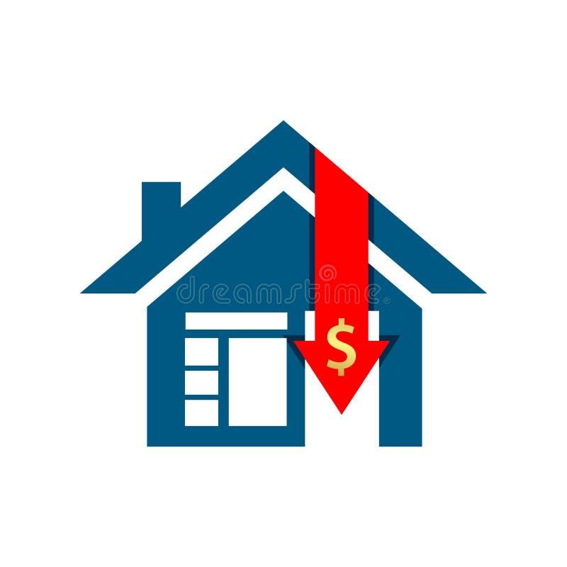 Redukcja w domów zakupach, akcyjna ikona, płaski projekt royalty ilustracja