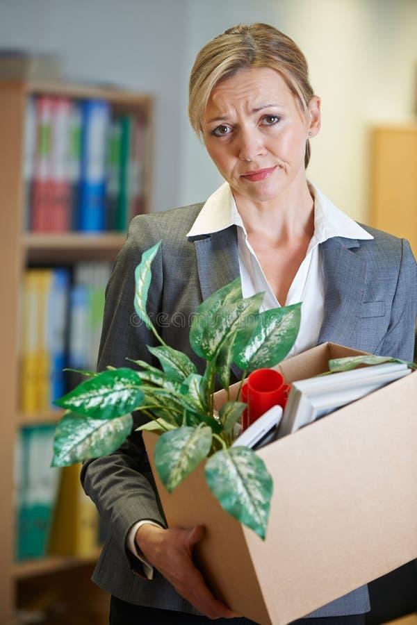 Redundant Businesswoman In Office. Portrait Of Redundant Businesswoman In Office stock photos