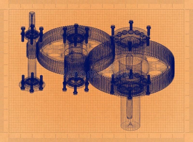 Redutor cilíndrico - modelo retro ilustração royalty free