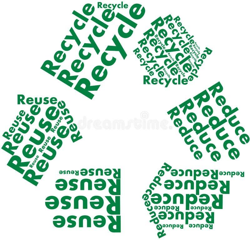 Reduza reusar recicl o símbolo com palavras ilustração royalty free