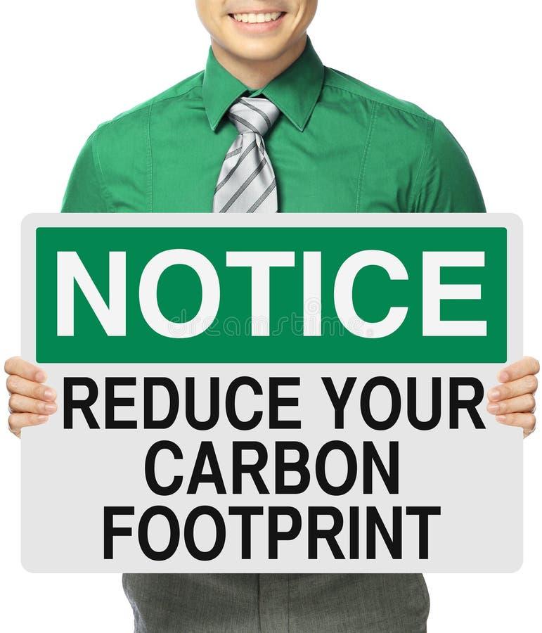Reduza sua pegada do carbono imagens de stock