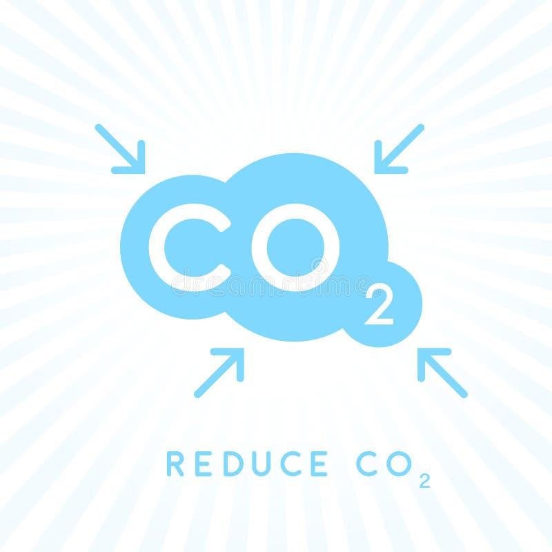 Reduzca el icono del concepto de las emisiones de CO2 del carbono con la nube stock de ilustración