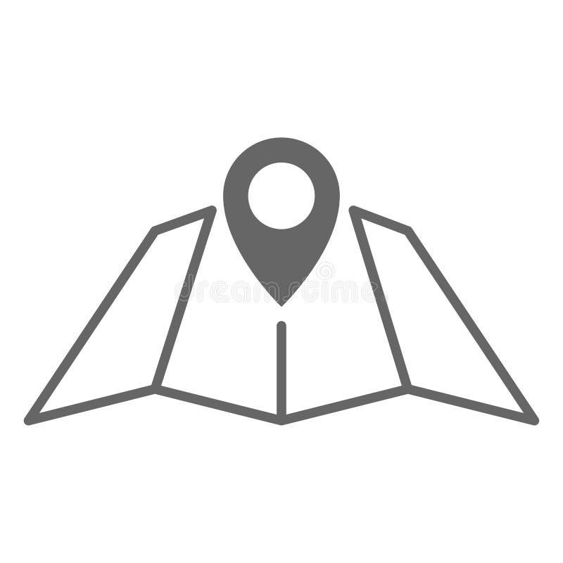 Reduzca la línea icono de los gps de la ubicación del perno con el mapa del papel Elemento plano de la forma del marcador geom?tr ilustración del vector