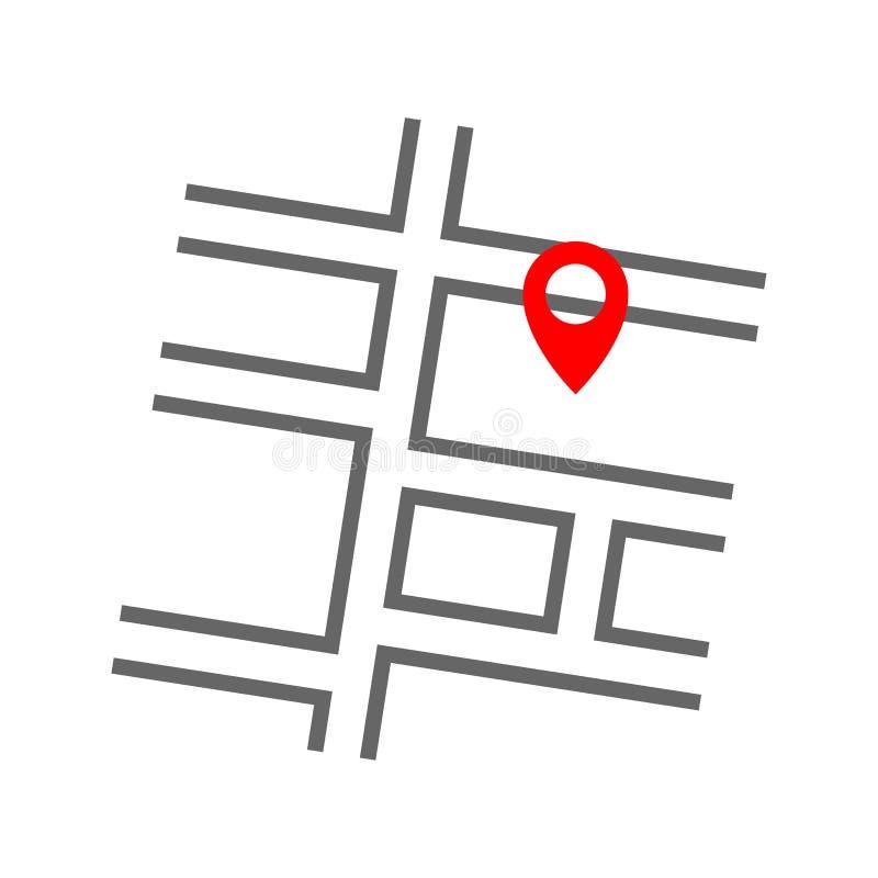 Reduzca la línea icono rojo de los gps de la ubicación del perno con el mapa de calle del camino Elemento plano de la forma del m ilustración del vector