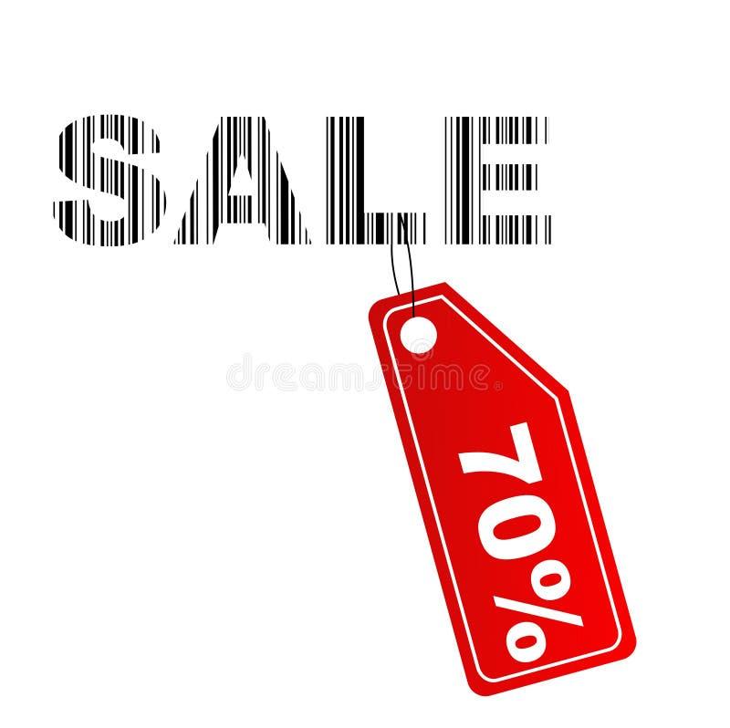 70% Reduzierungsaufkleber mit Barcode stockbilder